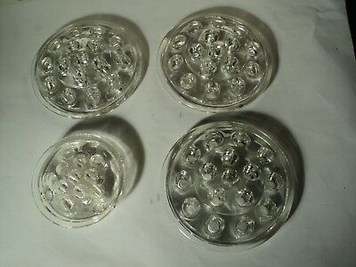 Glass Flower Frogs Vintage Lot of 4 Floral Arranging Supplies  16 & 11  Hole