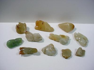 NobleSpirit NO RESERVE {3970}Selection of Vintage Hand Carved Jade Stone Pieces