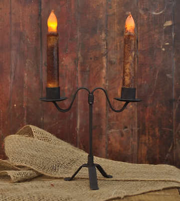 PRIMITIVE BLACK IRON HEARTHSIDE DOUBLE CANDLE HOLDER & 2 battery candles