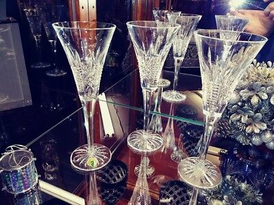 Set of 3 Waterford Crystal Fluted Champagne Glasses Excellent Condition