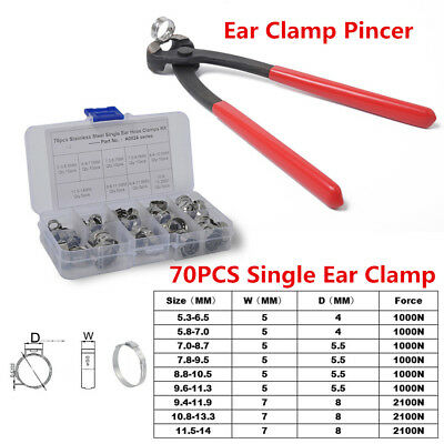 70PCS Single Ear Clamp Hose Clamp+Stainless Steel Ear Clamp Pincer Adjustable