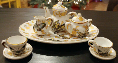 Vintage Miniature Mini Tea Set Butterfly & Yellow Flower 10 Pc Porcelain