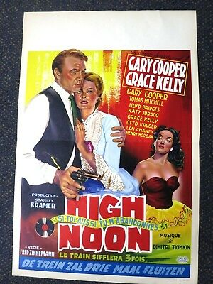 High Noon  Gary Cooper  Grace Kelly  Belgian Movie Poster