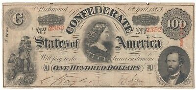 1863 $100 Dollar Confederate States Currency Civil War Note Paper Money