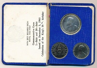 Thailand 1963 King's 36th Birthday Coin Set Silver 20 Baht - Royal Thai Mint