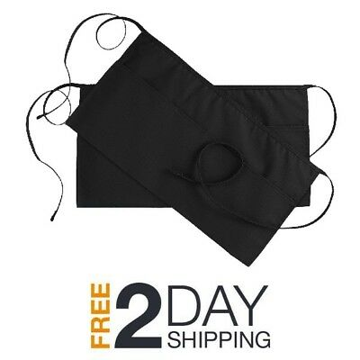 2 new black server apron, 3 pocket waist waiter waitress tip apron restaurant