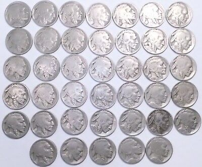 Full Roll of 40 Buffalo Nickels from 1920s and 1930s full and partial dates