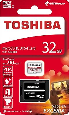 32GB Toshiba Micro SDHC MicroSDHC Exceria M302 90MB/s Class 10 Card + SD Adapter