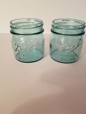 Lot of 2 BALL perfect Mason 1/2 pint Canning Jars Blue excellent