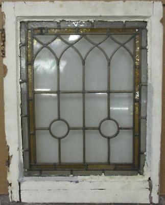 "MID SIZE OLD ENGLISH LEADED STAINED GLASS WINDOW Nice Border Design 18"" x 23.25"""