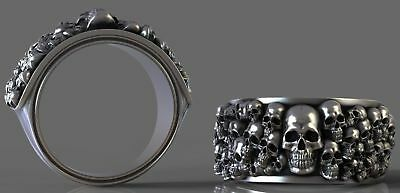 Men's Biker Punk Heavy Ossuary Gothic Skull Oxidized 925 Sterling Silver Ring