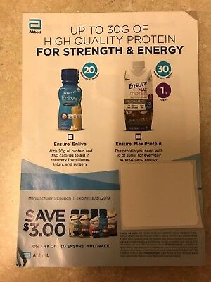 $3 Off Ensure Multipack (24) Coupons expire  08/31/2019 $72 value