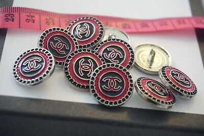 Chanel Buttons 18mm 3 pieces Logo CC metal Black and Red