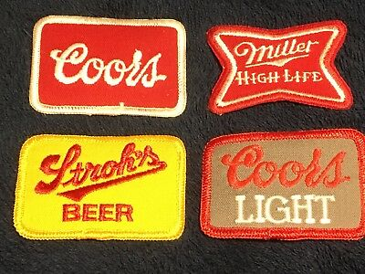 4 NOS Beer PATCHES Miller High Life Stroh's COORS LIGHT Vintage HAT Jacket SHIRT