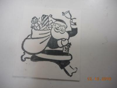 Printing Letterpress Printer Block Christmas Santa Ringing Bell Printer Cut