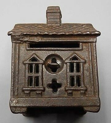 Small Antique Cast Iron Still Bank of a House - Clean & Crisp