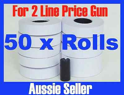 NEW WHITE PRICE GUN TAGS LABELS  x 50 ROLLS FOR 2 LINE PRICE GUN MX 6600 + INK