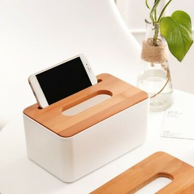 Home Kitchen Wooden + Plastic Tissue Box Solid Wood Napkin Holder Case Simple