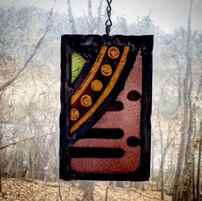 Architectural Salvage Leaded Stained Glass- Orange, Rose, and Green