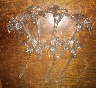Vintage Lot of 7 Hand Blown Art Glass Clear  Flowers  Daffodils Iris