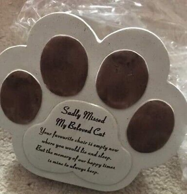 Cat Memorial Plaque Paw Shaped Gift In Memory Of Lovely Written Verse New In Box