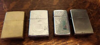 Lot of 4 vintage Zippo Lighters. 1 Advertisng Lucky Strike Cigarettes 1 slim