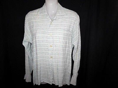 "1960 Vintage ""PALRAY"" Shirt - Top - Pale Blue Fine Embroidered Colored Lines S-M"