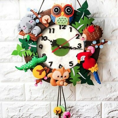 Felt Wall Clock Free Cutting Felt DIY Package Forest Animal Theme Handmade Clock