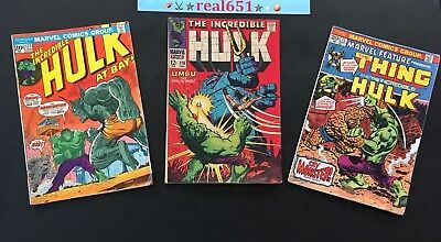 The INCREDIBLE HULK Comic Lot x 3 Issues | Silver ~ Bronze Age | Vintage Comics