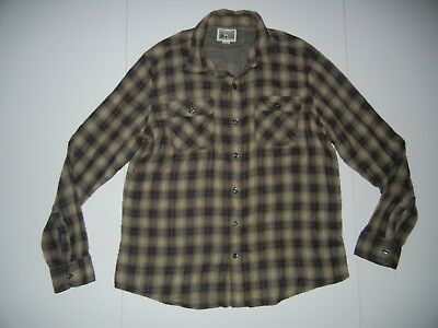 CONVERSE ONE STAR Brown Coton PLAID SHIRT Button-Up Long Sleeve Sz Men s  LARGE 9dbf0a6d7729a