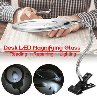 Large Top Desk Table 5x Magnifier Magnifying Glass Lens W/ Clamp LED Light
