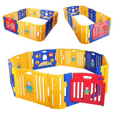 12 Panel Baby Playpen Kids Safety Play Center Yard Home Pen Fence Indoor Outdoor