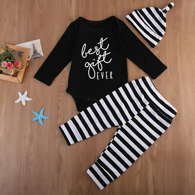 3PCS Baby Boy Infant Cotton Romper Tops+Striped Pants Hat Outfits Clothes Set