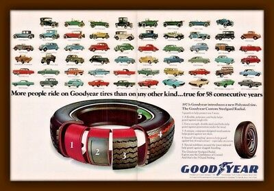 1963 Ad Goodyear Tires 2 Page History Of Automobiles 58 Years