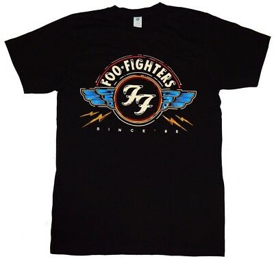 NEW FOO FIGHTERS FULL COLOR SINCE 95 CLASSIC FF LOGO WINGS BLACK ROCK T SHIRT