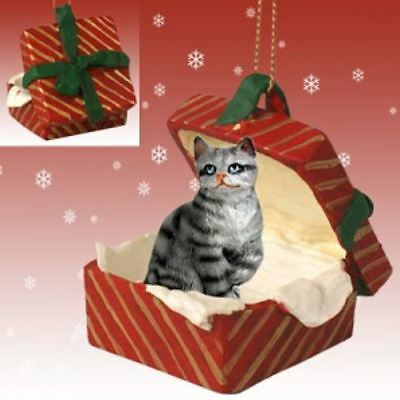 SILVER TABBY CAT DOG CHRISTMAS GIFT BOX ORNAMENT HOLIDAY Present