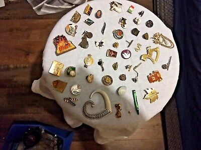 Large Lot of 45 Vintage Lapel Hat Collar Pins Tie Tacks/Brooches L@@k