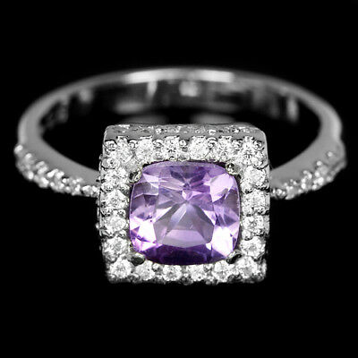 Natural Aaa Purple Amethyst & White Cz Sterling 925 Silver Ring Size 6