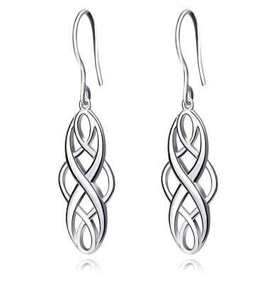 925 Sterling Silver Polished Good Luck Irish Celtic Knot Vintage Dangles for Wom
