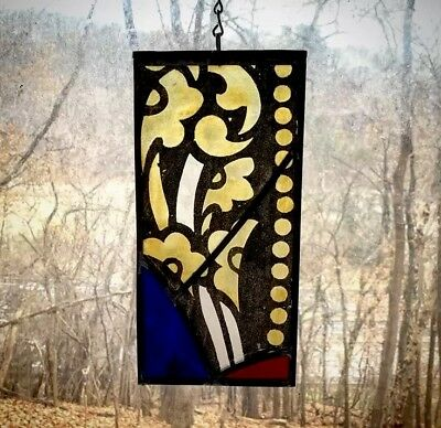 1870s Architectural Salvage Leaded Stained Glass- Gold Flowers, Painted Border