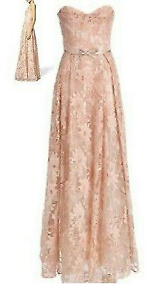 $1.5K Marchesa Notte Stunning Pink Blush Lace Bead Runway Dress Gown Us 4