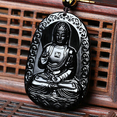 Natural A Black Obsidian Carved Buddha Pendant Chain Necklace Rope Gift For Man