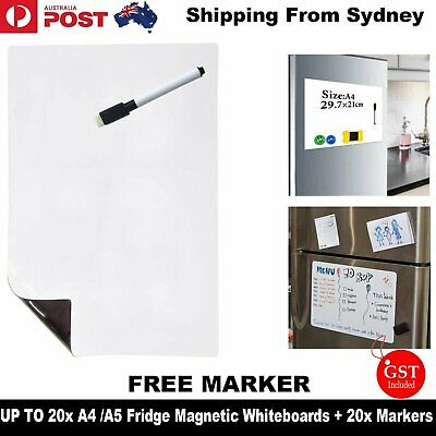 A4 A5 Fridge Magnetic Whiteboard Memo Reminder Board Magnet + Pen Marker Eraser