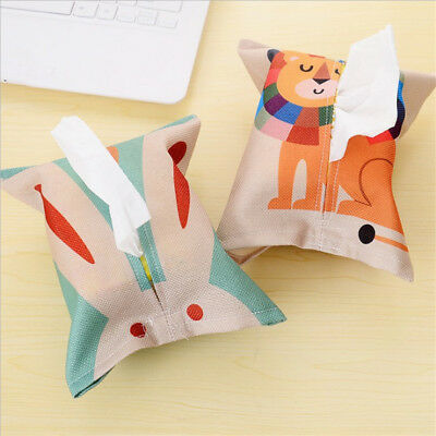 1*Cartoon Animal Papers Car Home Fabrics Tissue Napkin Container Holder Case A3X