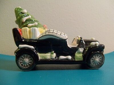 Vintage Department 56 Snow Village Black Car with Tree and Presents 1980 80s