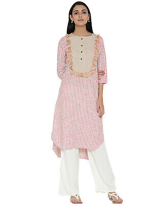 Indian Women Ethnic Cotton Kurta Kurti Red & White Stripe Tunic Top Kameez US