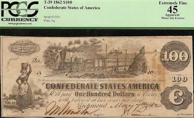 1862 $100 Dollar Bill Confederate States Currency Civil War Note Money T-39 Pcgs
