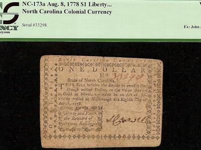 1778 $1 Dollar Liberty And Peace Note North Carolina Colonial Currency Pcgs Vf