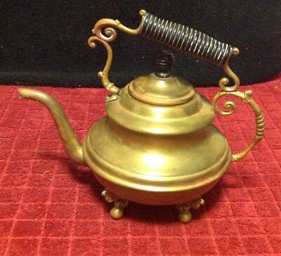 Vintage Antique Metal Brass Tea Kettle Pot Pitcher Pouring Handle Legs Stand Lid