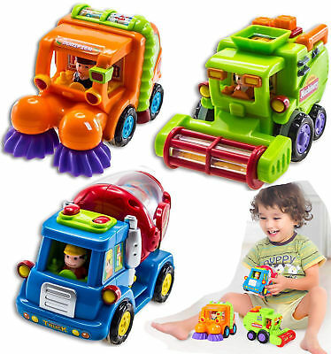 Set of 3 Push And Go Friction Powered Car Toys For Boys Harvester Sweeper Truck